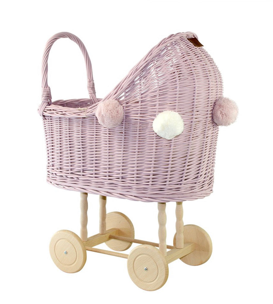 Wicker Dolls Pram High - Dusty Pink