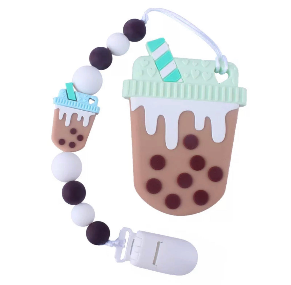 Teether Silicone- Latte 'Chocolate Mint'