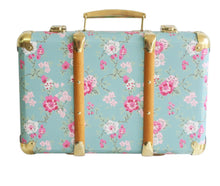 Load image into Gallery viewer, Vintage Style Carry Case  - Aqua Cottage Rose