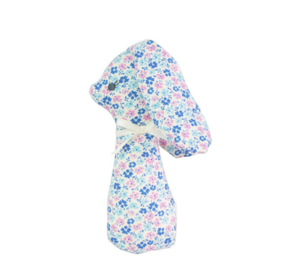 Baby Rattle - Blue Floral