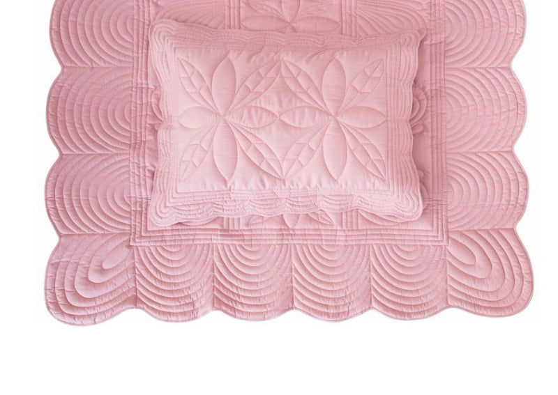 Bonne Mere Single Quilted Bedspread and Pillow Set - Rose