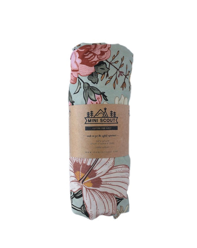 COT SHEET - GARDEN FLORAL SEA FOAM