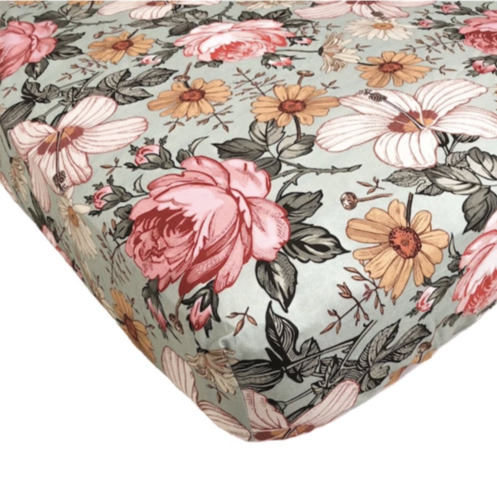 The Mini Scout Cot Sheet-Sea Foam Garden Floral
