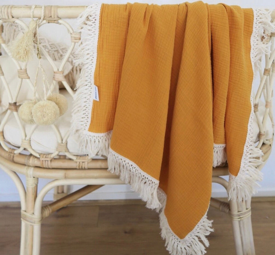 Ziggy Lou Swaddle Fringe-Golden