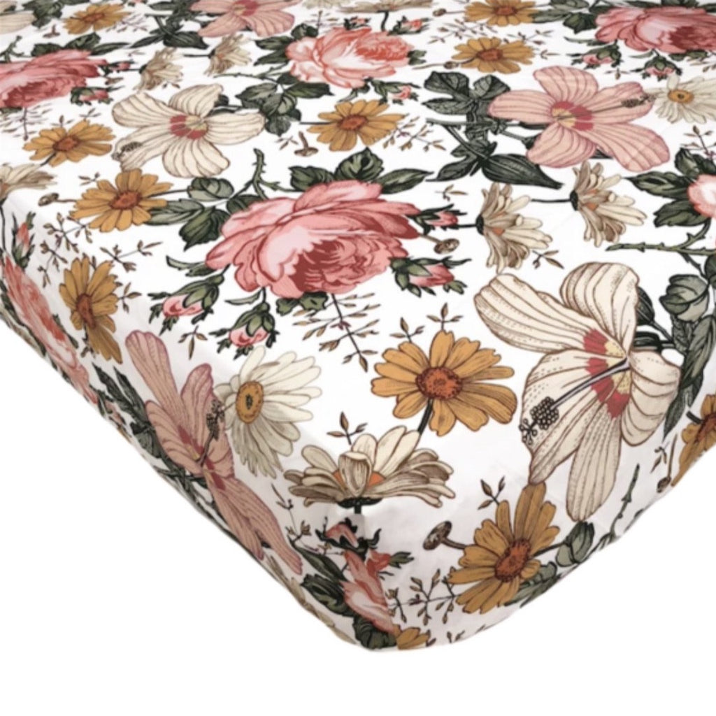 The Mini Scout  Cot Sheet- White Garden Floral
