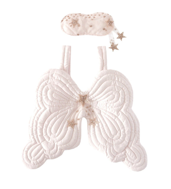 Bonne Mere Starry Nights Heirloom Angel Wings & Eyemask - Powder