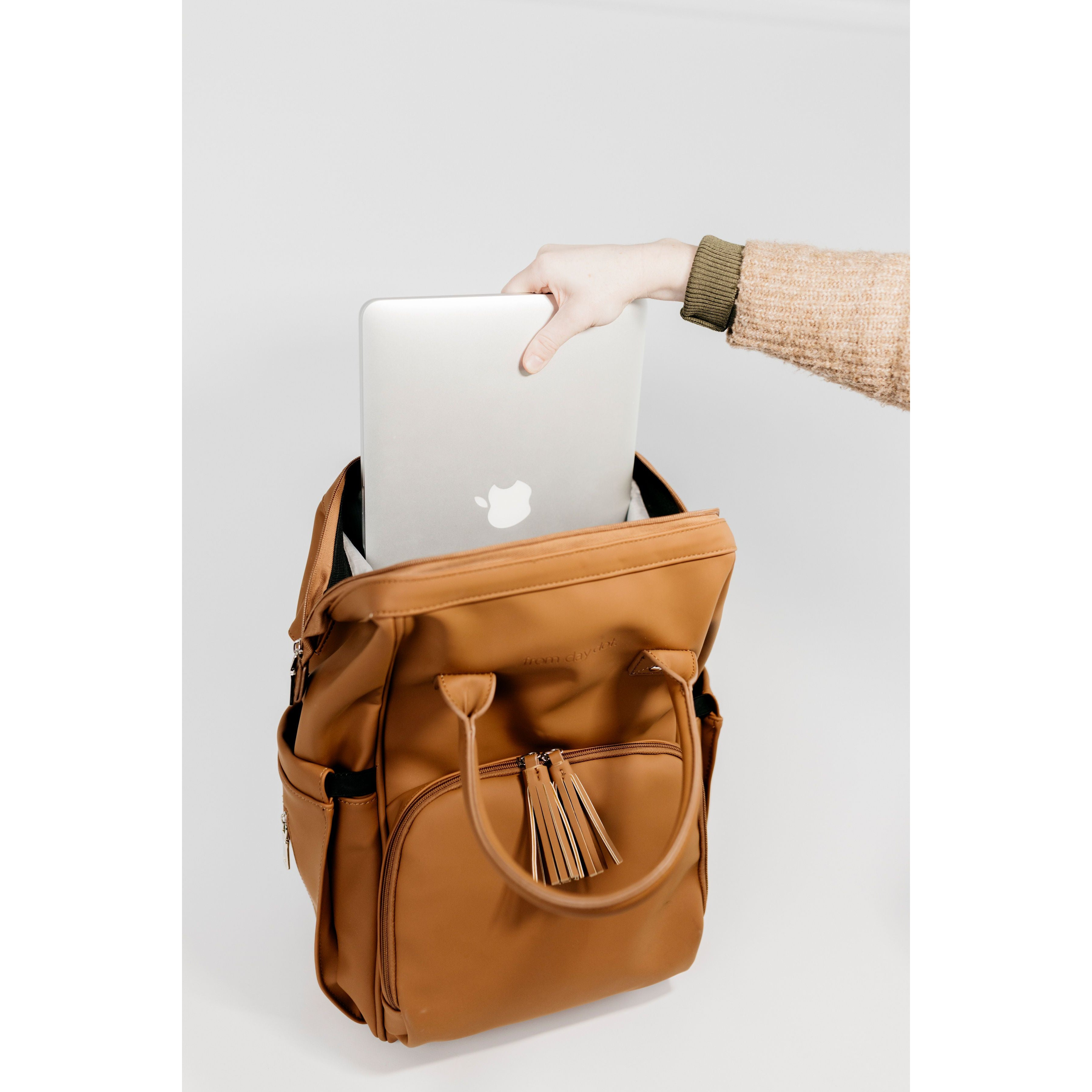 Nappy Bag Backpack (Diaper Bag) - Sunday Luxe MATTE TAN