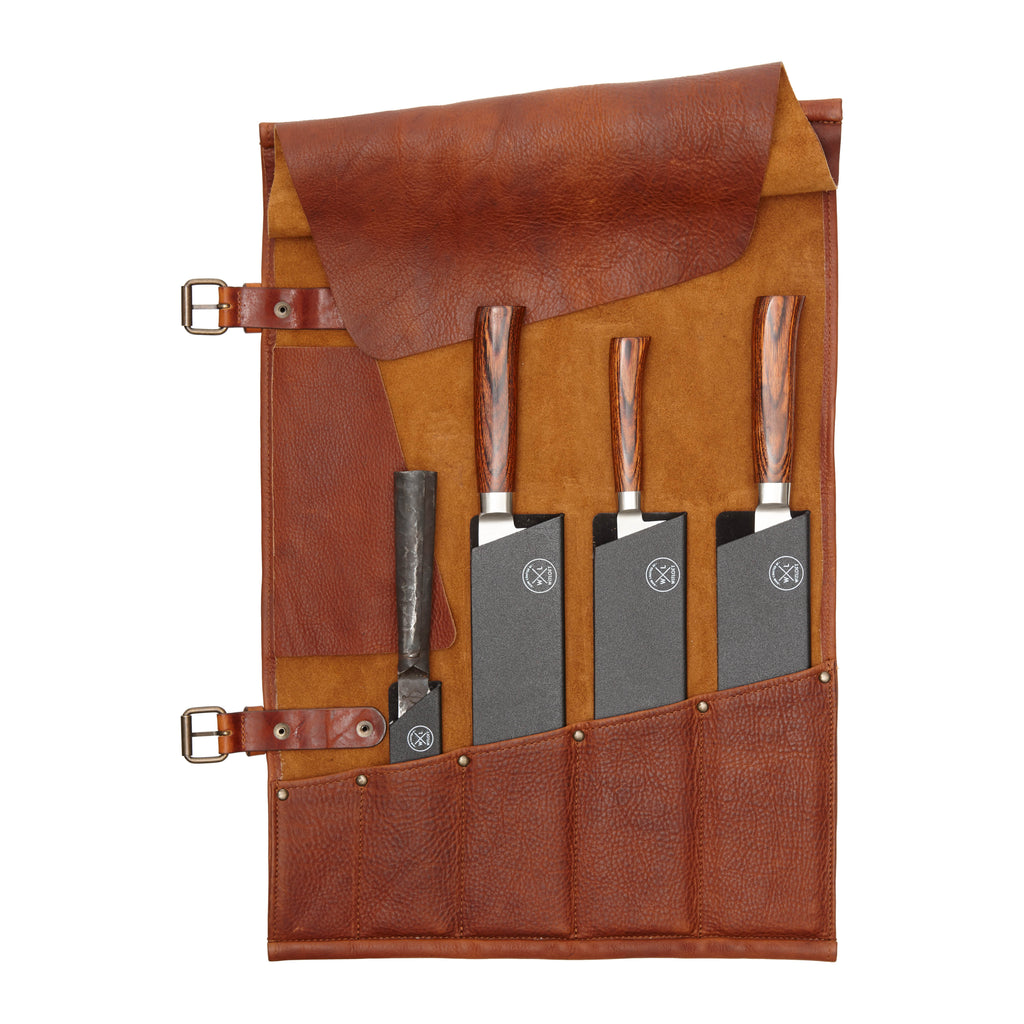 5 Pocket Leather Knife Roll | Cognac