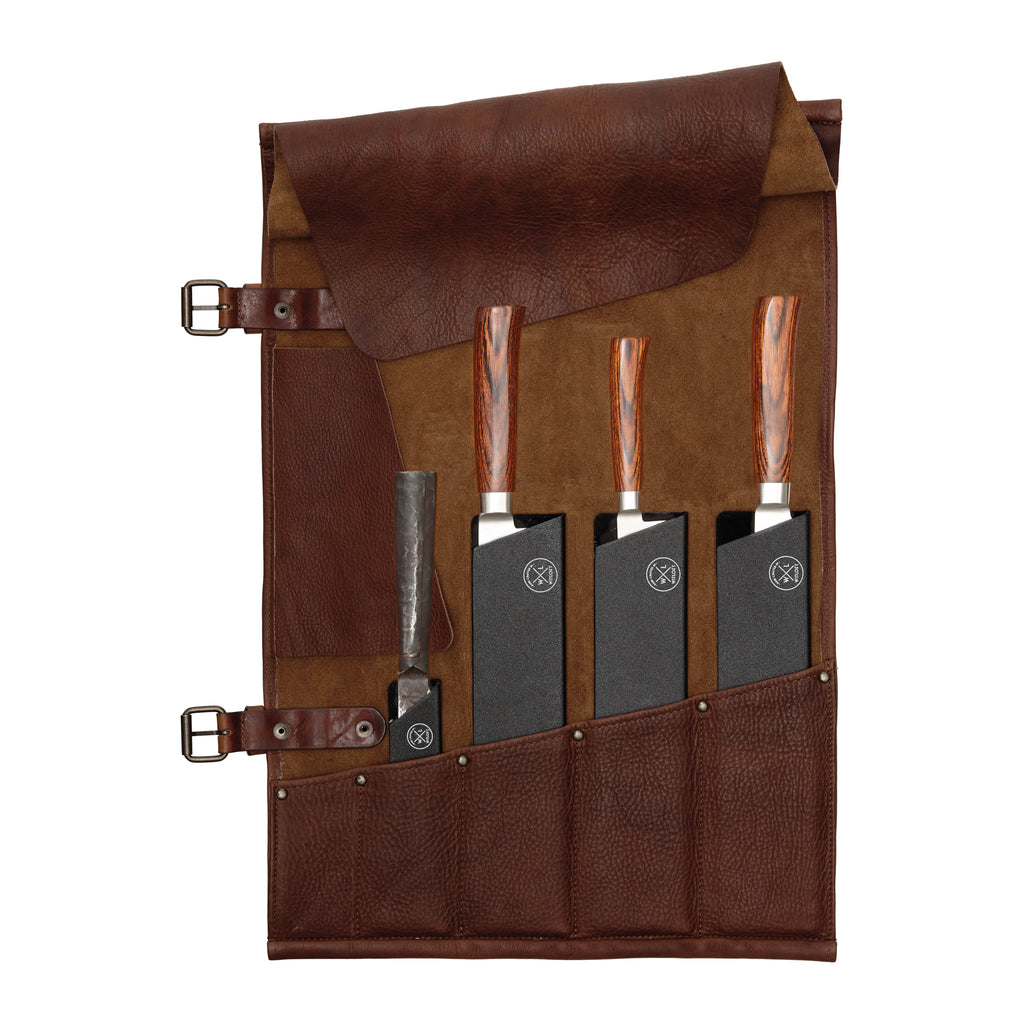 5 Pocket Leather Knife Roll | Dark Brown
