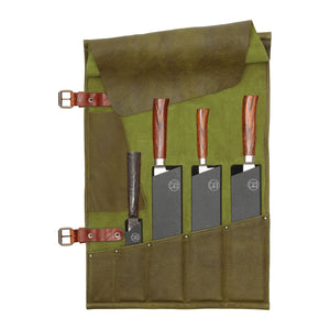 5 Pocket Leather Knife Roll | Green