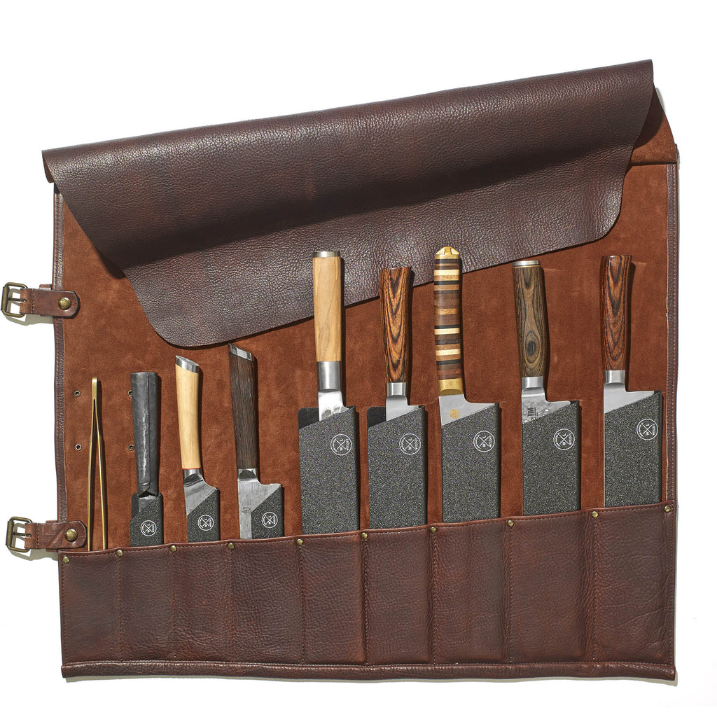 9 Pocket Leather Knife Roll | Dark Brown
