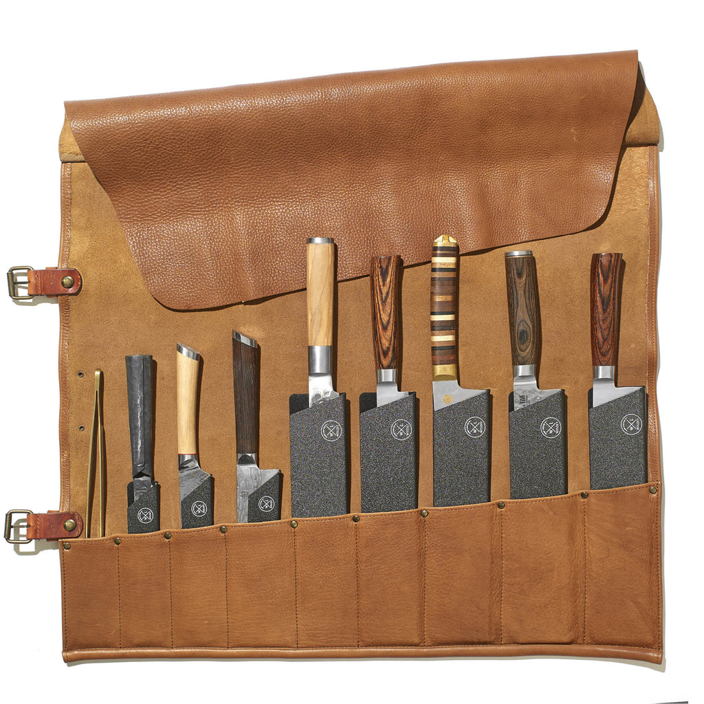 9 Pocket Leather Knife Roll | Cognac