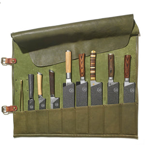 9 Pocket Leather Knife Roll | Green