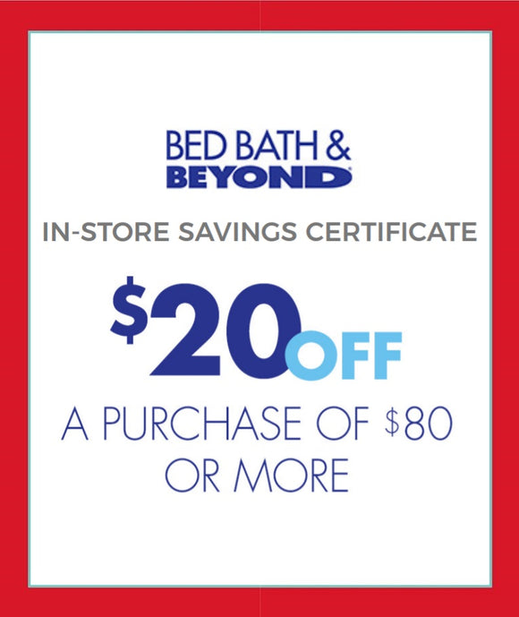 Bed Bath & Beyond $20 off $80 or More−𝗜𝗻𝘀𝘁𝗮𝗻𝘁 𝗗𝗲𝗹𝗶𝘃𝗲𝗿𝘆