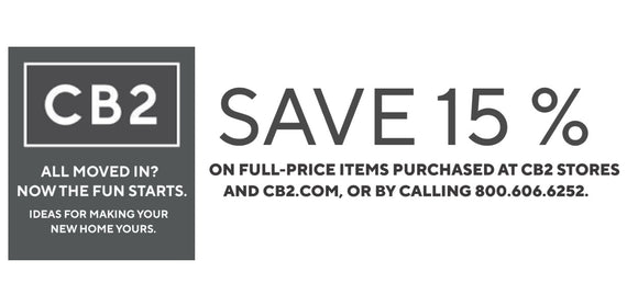 CB2 15% off Your Entire Purchase