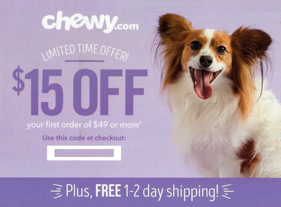 Chewy $15 off Your First Order of $49 or More PLUS Free Shipping—Instant Delivery