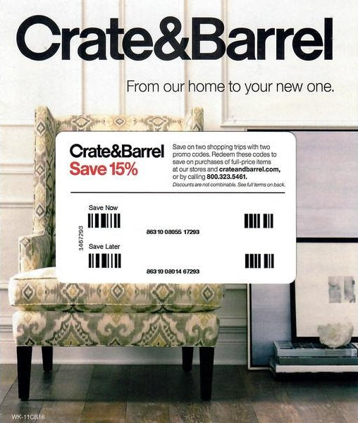 Crate & Barrel 15% off Entire Purchase−Instant Delivery