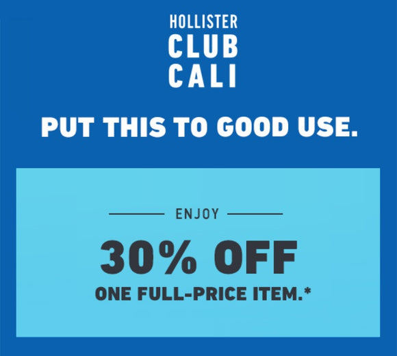 Hollister 30% off One Full-Price Item−𝗜𝗻𝘀𝘁𝗮𝗻𝘁 𝗗𝗲𝗹𝗶𝘃𝗲𝗿𝘆