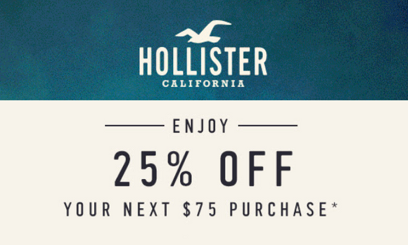 Hollister 25% off $75 Purchase−Email Delivery