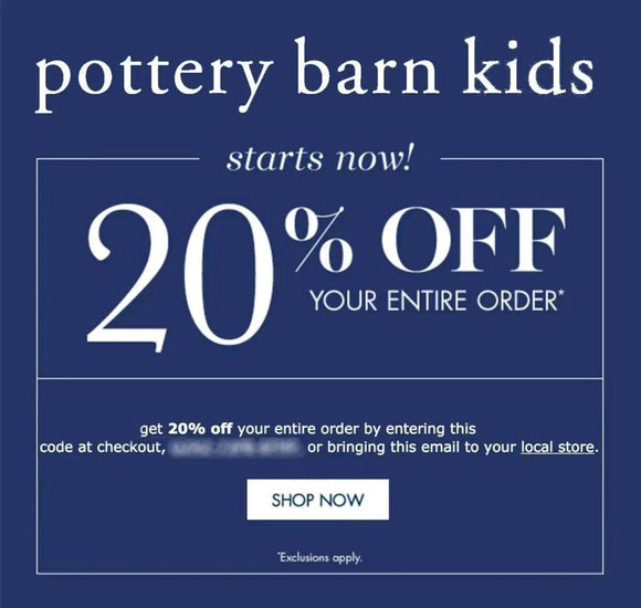 Pottery Barn Kids 20% off Entire Purchase−𝗜𝗻𝘀𝘁𝗮𝗻𝘁 𝗗𝗲𝗹𝗶𝘃𝗲𝗿𝘆