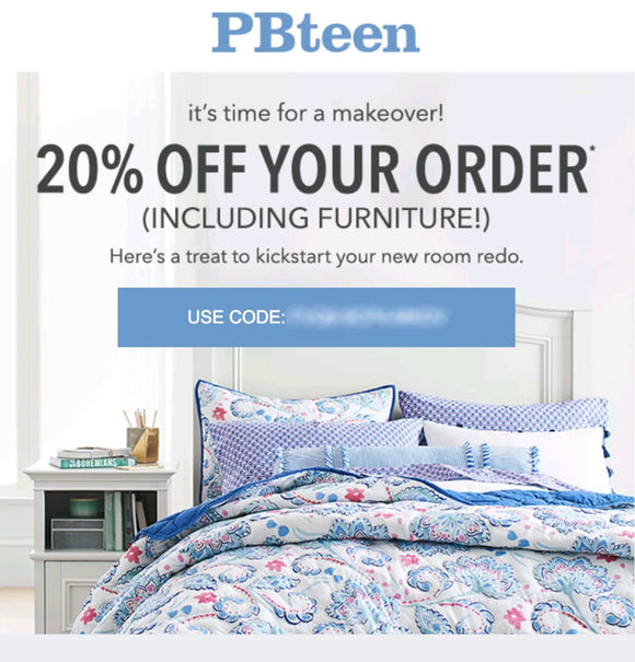 Pottery Barn Teen 20% off Entire Purchase—Email Delivery