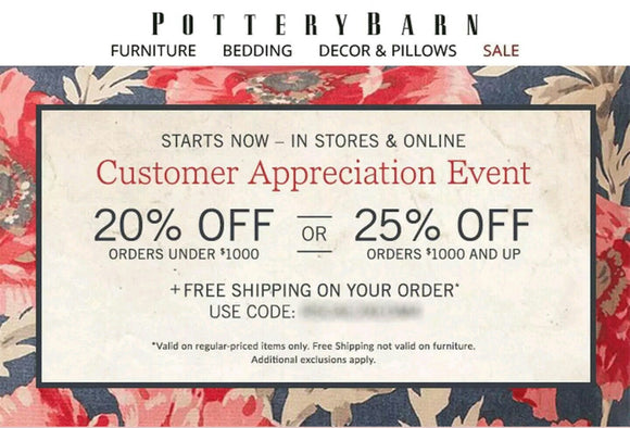Pottery Barn 20% off Entire Purchase—Email Delivery