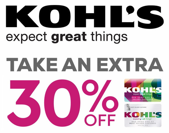 Kohl's 30% off Entire Purchase (In-Store and Online)−𝗜𝗻𝘀𝘁𝗮𝗻𝘁 𝗗𝗲𝗹𝗶𝘃𝗲𝗿𝘆