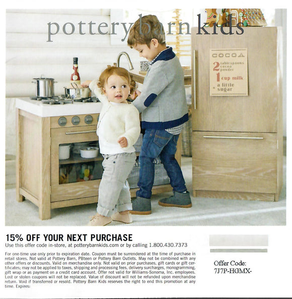 Pottery Barn Kids 15% off Entire Purchase—Email Delivery