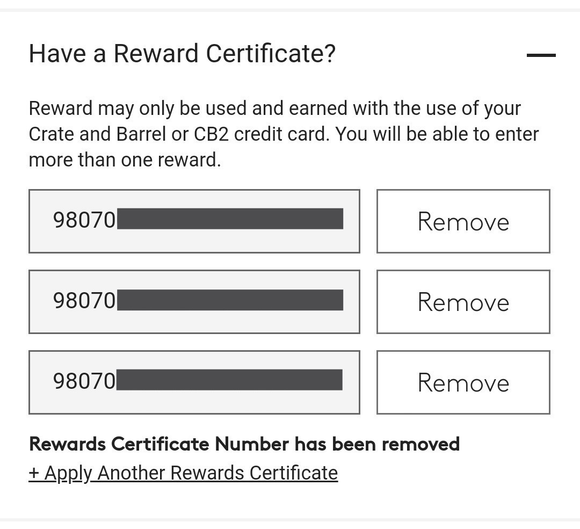 CB2 $20 Rewards Certificate—Email Delivery