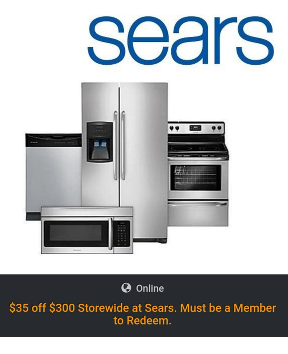 Sears $35 off $300−Instant Delivery