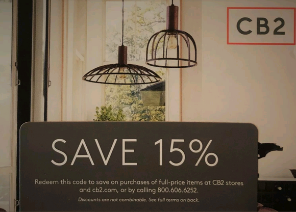 CB2 15% off Entire Purchase−Includes Furniture−𝗜𝗻𝘀𝘁𝗮𝗻𝘁 𝗗𝗲𝗹𝗶𝘃𝗲𝗿𝘆