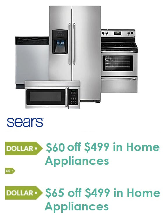 Sears or Kmart $60 or $65 Off $499 in Home Appliances—Instant Delivery