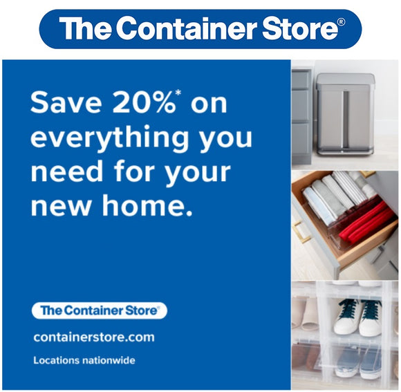 The Container Store 20% off Entire Purchase!−𝗜𝗻𝘀𝘁𝗮𝗻𝘁 𝗗𝗲𝗹𝗶𝘃𝗲𝗿𝘆