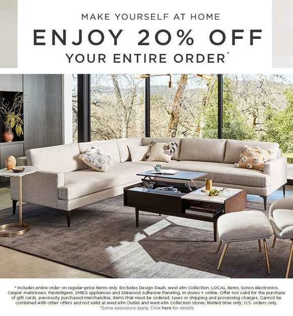 west elm 20% off Entire Order—Email Delivery