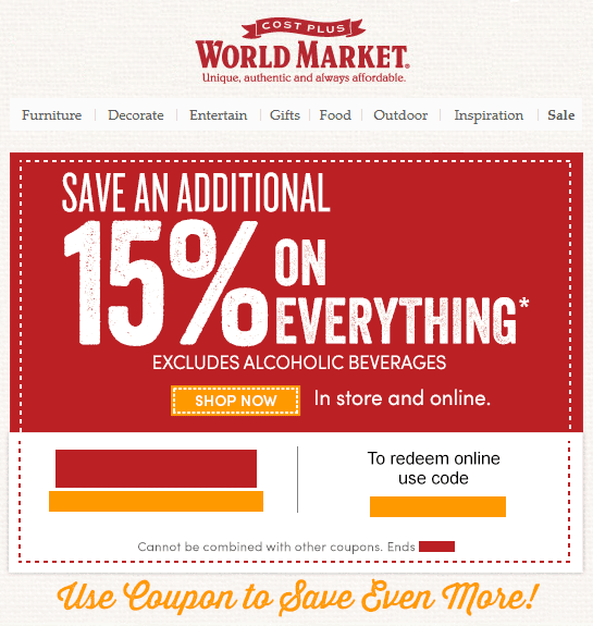 Cost Plus World Market 15% off Entire Purchase—Email Delivery