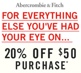 Abercrombie & Fitch 20% off $50 or More—Instant Digital Download
