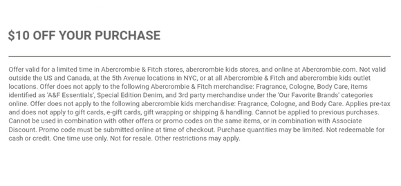 Abercrombie $10 off Anything−𝗜𝗻𝘀𝘁𝗮𝗻𝘁 𝗗𝗲𝗹𝗶𝘃𝗲𝗿𝘆