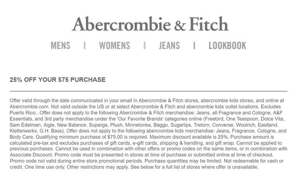 Abercrombie and Fitch 25% off $75—Instant Digital Download