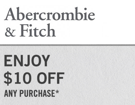 Abercrombie $10 off Anything−Email Delivery