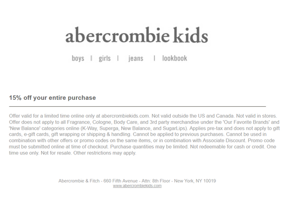 abercrombie kids 15% off Entire Purchase−𝗜𝗻𝘀𝘁𝗮𝗻𝘁 𝗗𝗲𝗹𝗶𝘃𝗲𝗿𝘆−1 or 2 Codes!