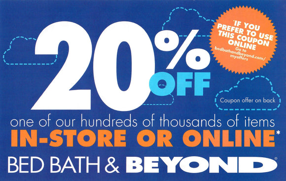 Bed Bath & Beyond 20% off One Item—Instant Delivery