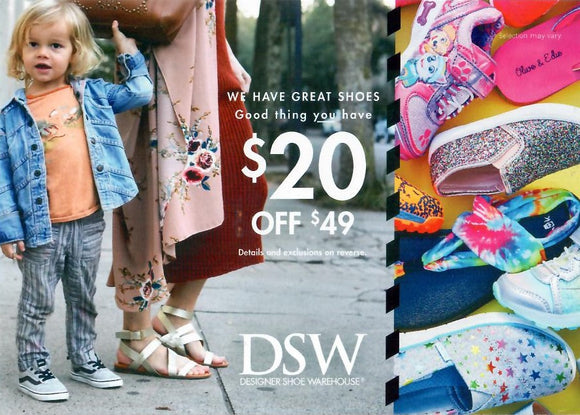 DSW $20 off $49−In-Store Only
