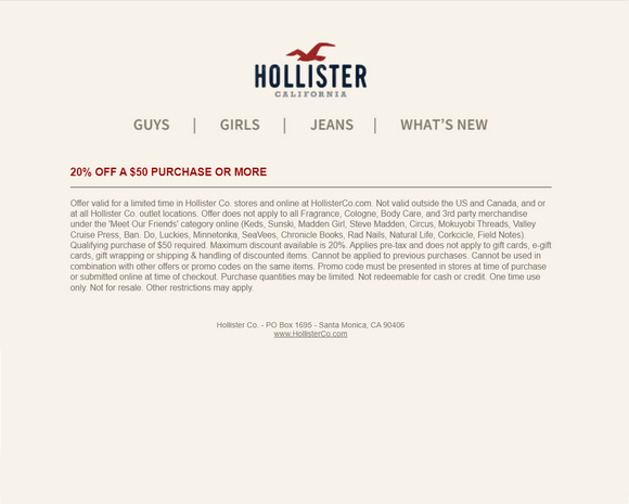 Hollister 20% off $50+ Purchase−𝗜𝗻𝘀𝘁𝗮𝗻𝘁 𝗗𝗲𝗹𝗶𝘃𝗲𝗿𝘆