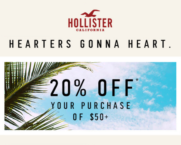 Hollister 20% off $50+ Purchase−Instant Delivery