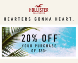 Hollister 20% off $50+ Purchase—Instant Delivery