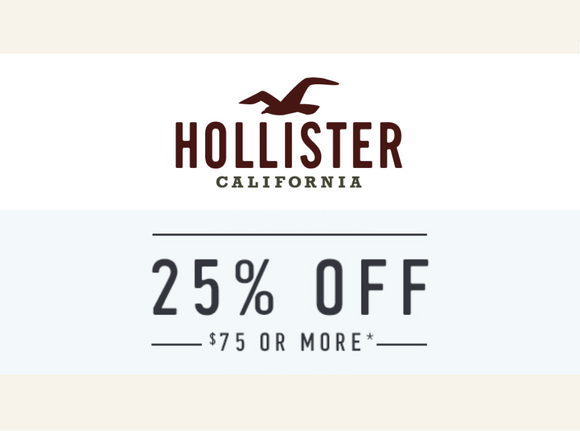 Hollister 25% off $75−𝗜𝗻𝘀𝘁𝗮𝗻𝘁 𝗗𝗲𝗹𝗶𝘃𝗲𝗿𝘆