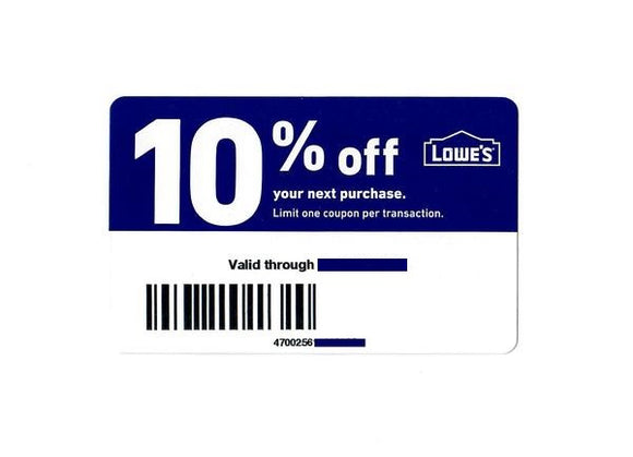 Lowe's 10% off—Instant Delivery