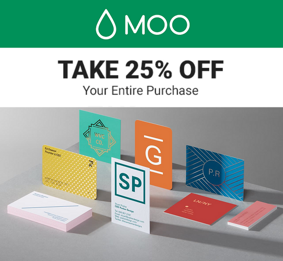 Moo.com 25% off Your First Order