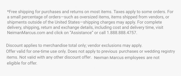 Neiman Marcus 15% off Entire Purchase—Instant Digital Download