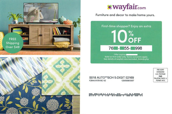 Wayfair 10% off—Instant Digital Download